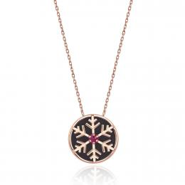 Cat's Eye Stone & Snowflake Gold Necklace