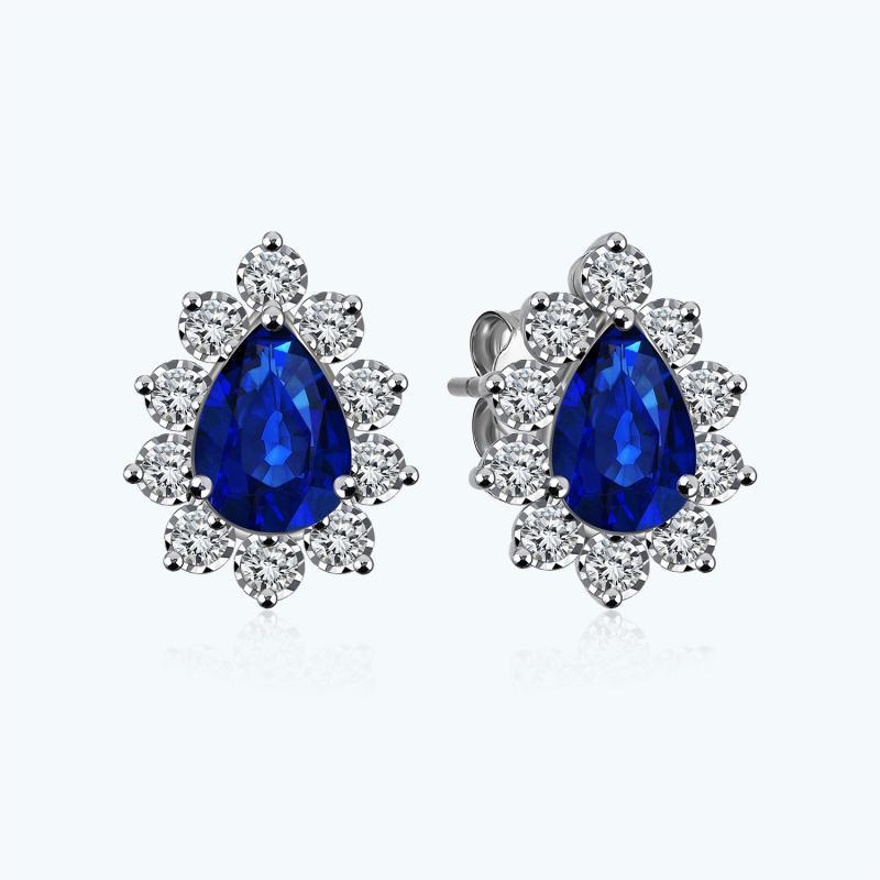 Saphir Diamant Goldohrringe